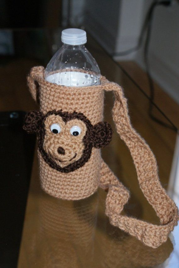 Monkey Water Bottle Holder-- FREE SHIPPING by CheekeemonkeeStore on Etsy