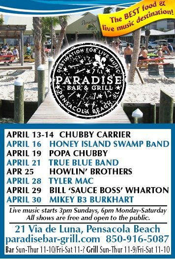 Paradise Bar and Grill - Where the good people meet the good music in Pensacola Beach. http://jazz-bluesflorida.blogspot.com/2017/04/paradise-bar-grille-where-good-people.html