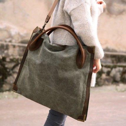 MARK II  VINTAGE. Duża torba na ramię damska. Bawełna płótno, skóra naturalna. Handmade