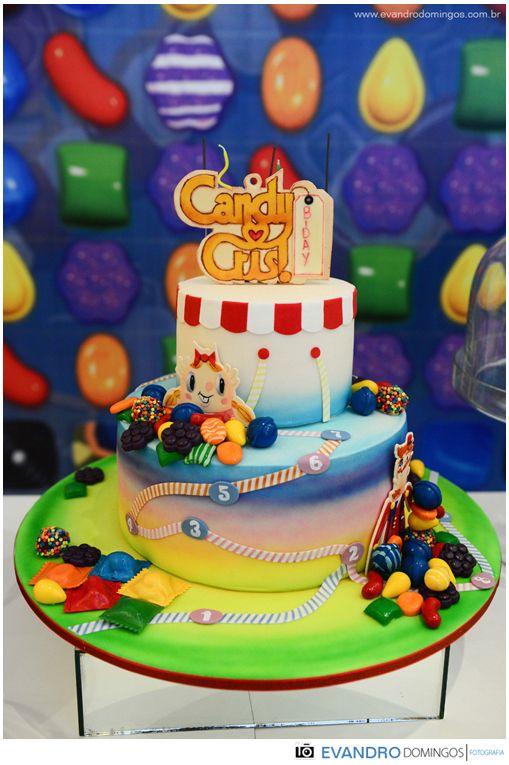 bolo Candy Crush: Birthday Theme, Amazing Cakes, Bolo Candy, Candy Crushes Saga, Cakes Design, 1St Years, Crushes Birthday, Birthday Kids, Birthday Ideas