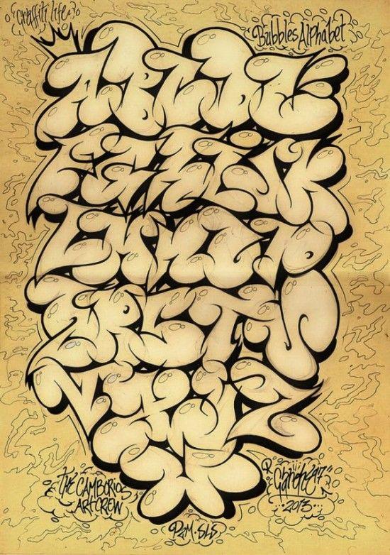 2013 Bubble Alphabet Graffiti Sketches by GAR