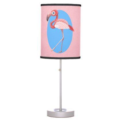 #customized - #Pink Tropical Exotic Flamingo Desk Lamp