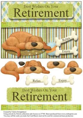 Best Wishes On Your Retirement Card Front on Craftsuprint designed by Valerie Swinglehurst - A quick card front with decoupage - Now available for download!