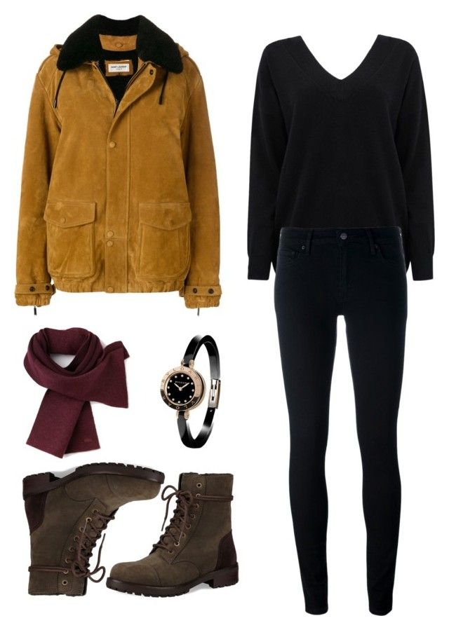 """Untitled #26"" by eirenechoo on Polyvore featuring Cocoa Cashmere, Yves Saint Laurent, Levi's, UGG, Lacoste and Bulgari"