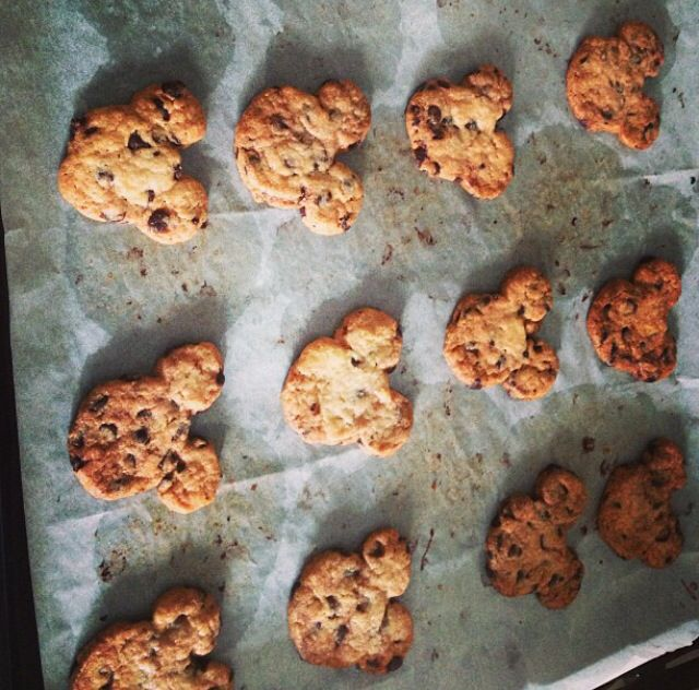 Cookies , chocolate chip cookies , mickey mouse shape , delicious , cooking , baking