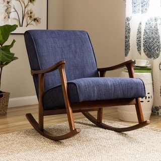 Retro Indigo Wooden Rocking Chair | Overstock.com Shopping - The Best Deals on Living Room Chairs