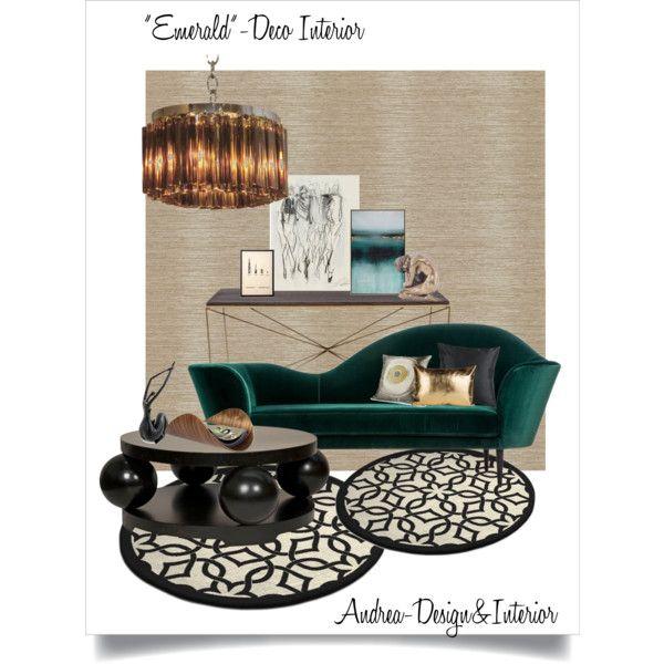 Emerald-Deco Interior by andrea-szakos on Polyvore featuring interior, interiors, interior design, home, home decor, interior decorating, Venini, Pyar & Co., Galbraith & Paul and Ciseal