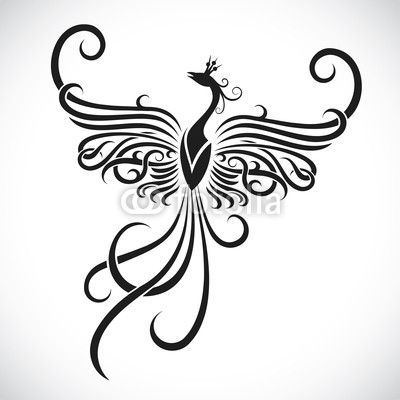 Vector: Tribal phoenix tattoo
