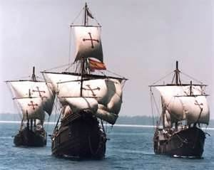 Another view of replicas of the three ships of Christopher Columbus - the Santa Maria, Niña and Pinta.