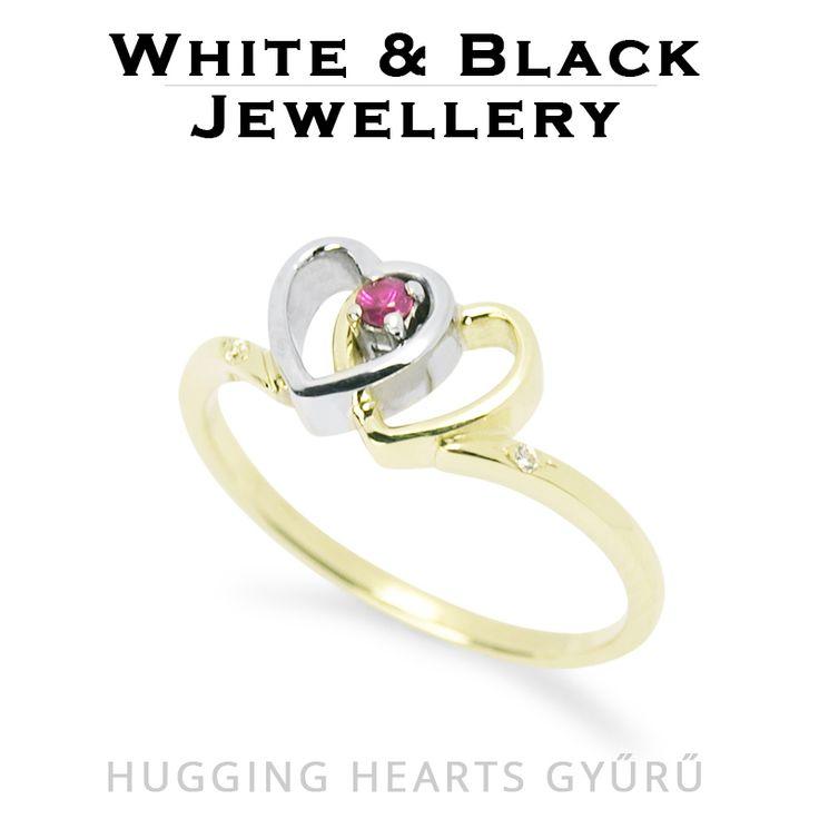 Eljegyzési gyűrű ölelkező szivecskékkel fehér és sárga aranyból - Gold engagement ring with two hearts set with ruby
