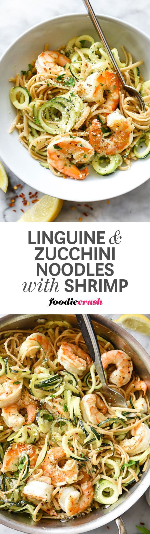 Spiralized zucchini with whole wheat linguini, garlicky shrimp and parmesan cheese make a perfect weeknight dinner to twirl your fork to.