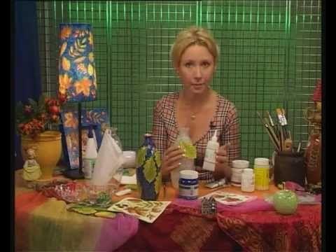 Декупаж. Делаем вазы из обычных стеклянных бутылок используя роспись по ...
