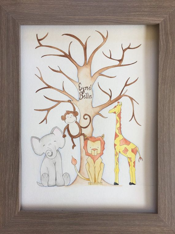 Safari Fingerprint Guestbook. Baby Shower by BMonteDesigns on Etsy