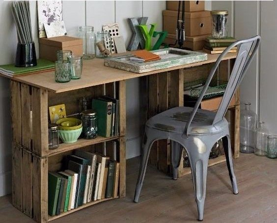 wooden crate desk, metal chair, work space, diy,