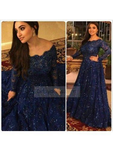Plus Size Elegant Beaded Navy Blue Long Sleeve Prom Dress #ddaydress #longsleeve #prom #dress #navyblue