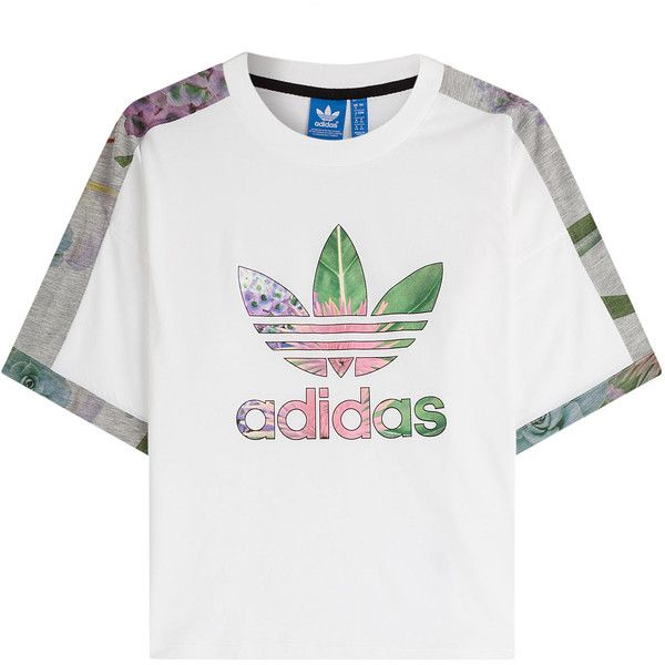 Adidas Originals T-Shirt ($55) ❤ liked on Polyvore featuring tops, t-shirts, white tee, logo tops, logo t shirts, white top and adidas originals t shirt
