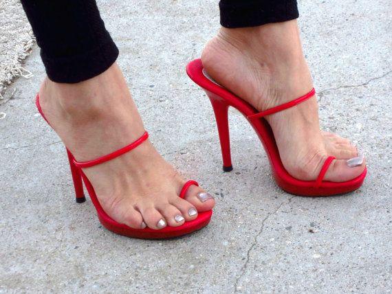 VIP 5 pulgadas rojo patente desmontaje dedo anillo por IdealHeels