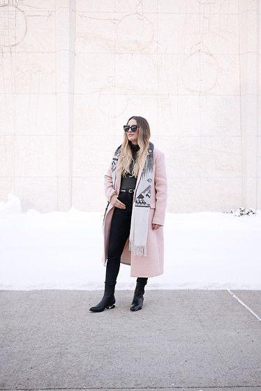 Get this look: http://lb.nu/look/7968934  More looks by Sandy Joe Karpetz: http://lb.nu/theprettysecrets  Items in this look:  Banana Republic Cashmere Scarf, Banana Republic Rose Quartz Wool Coat, Alexander Wang Anouck Leather Boots, Paradise Mine High Waist Denim, Le Chateau Grey Turtleneck, Komono Stella Black Sunglasses   #staywarmlb #pastels #rosequartz #casualchic #winterstyle #minimal