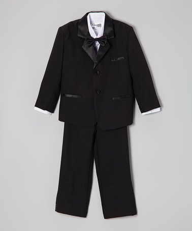 Love this Black Satin-Trim Five-Piece Tuxedo - Infant, Toddler & Boys on #zulily! #zulilyfinds