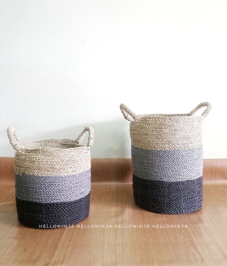 Gray and black striped basket. Buy set of 2 storage basket from helloninja. Instagram.com/helloninja_