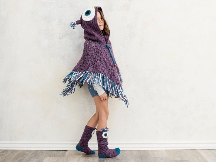Hooded Owl Poncho and Socks Crochet pattern by MJsOffTheHook