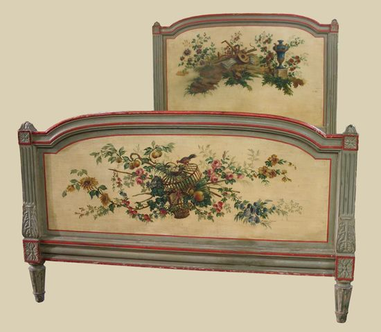 19th Century Painted Bed   from Provence