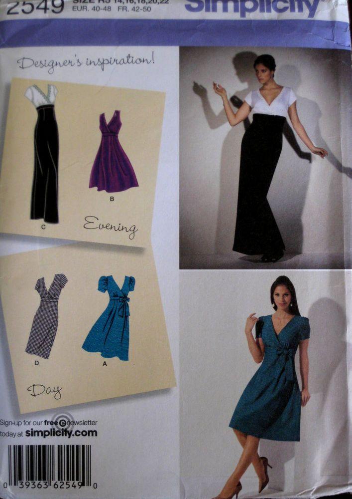 Simplicity Misses Empire Waist Bias Bow Evening Dress Pattern 2549 UC 14-22