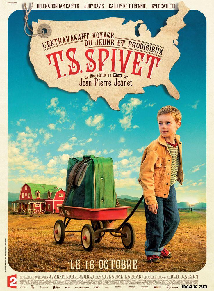 ¤ L'extravagant voyage du jeune et prodigieux T.S Spivet - T.S. Spivet, vit dans un ranch isolé du Montana avec ses parents, sa soeur Gracie et son frère Layton. Petit garçon surdoué et passionné de science, il a inventé la machine à mouvement perpétuel, ce qui lui vaut de recevoir le très prestigieux prix Baird du Musée Smithsonian de Washington. Sans rien dire à sa famille, il part, seul, chercher sa récompense et traverse les Etats-Unis sur un train de marchandises.