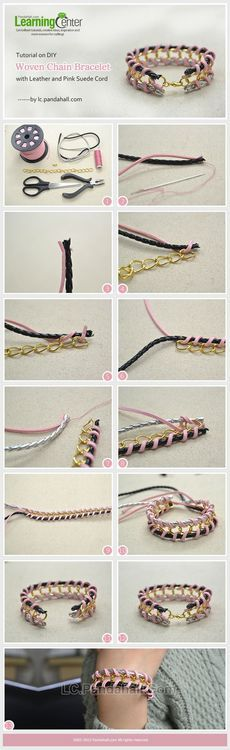Jewelry Making Tutorial-DIY Woven Chain Bracelet with Leather and Pink Suede Cord | PandaHall Beads Jewelry Blog