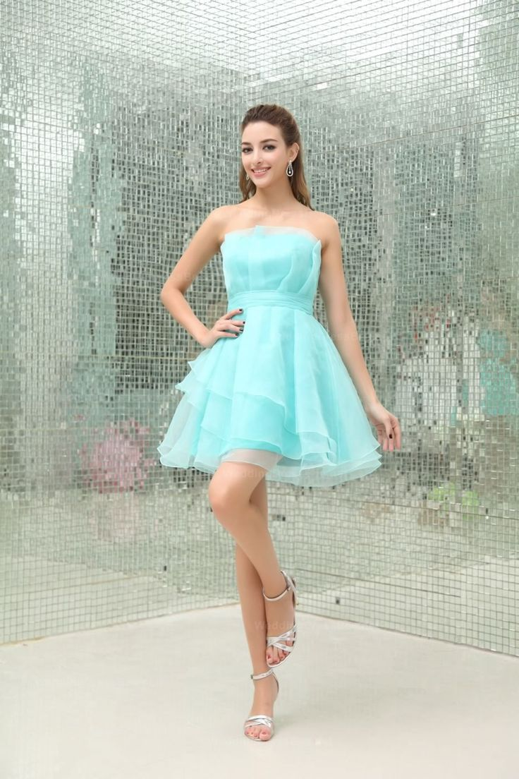 Strapless Multilayer Skirt Full A-Line Organza Bridesmaid Dress
