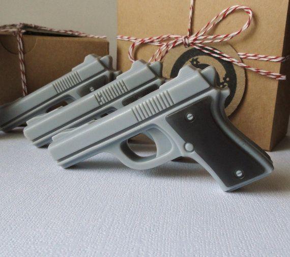 Gun Soap - Target Practice - Mini Pistol Box Set of 4 - Goat's Milk and Glycerin Soap - Gift Set - Scented Black for Men. $7.50, via Etsy.