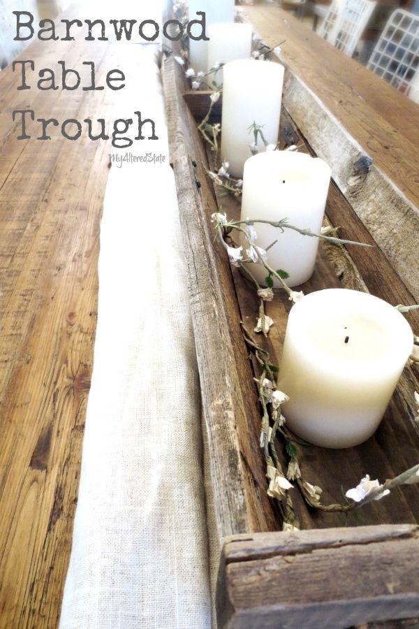 barnwood barn wood table centerpiece holiday decor.. diy... I am so doing this !