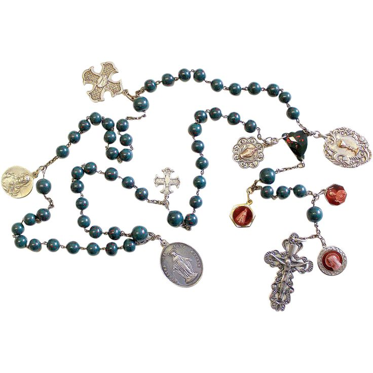 Vintage Blood stone and Sterling Catholic Rosary ca. 1925 Many Rare Medals ca. 1850-1920 – French - XXXR