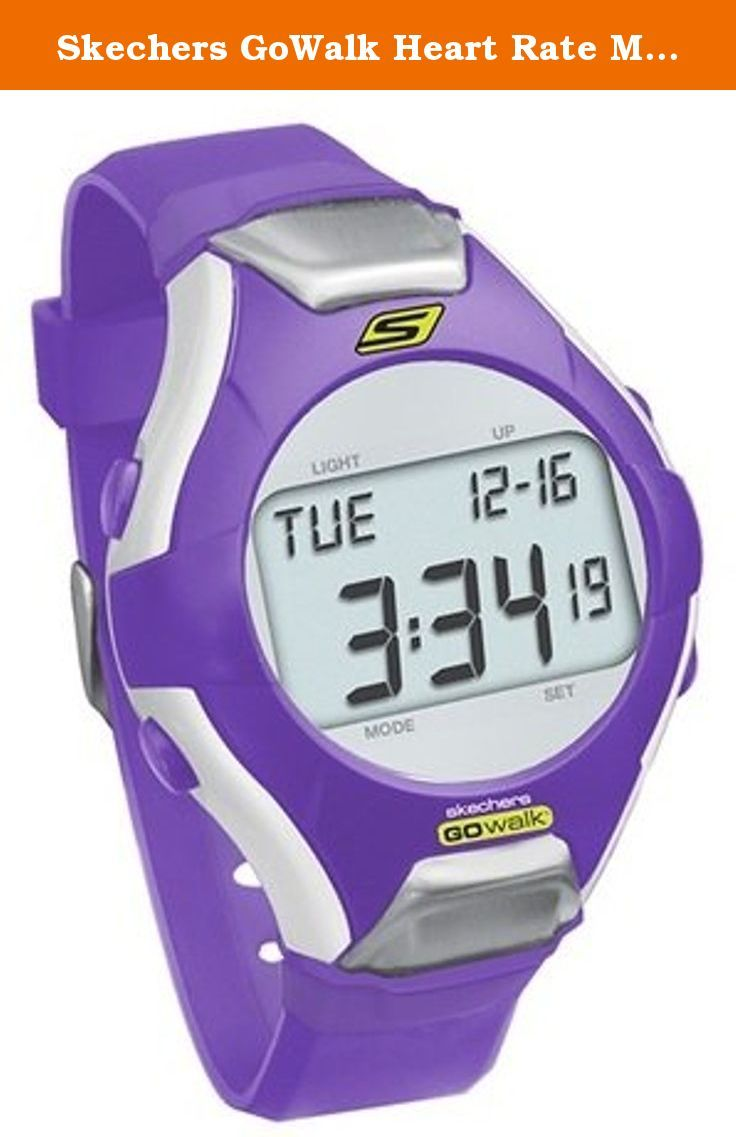 Skechers GoWalk Heart Rate Monitor Watch (Purple). Heart rate monitor works without chest strap to measure physical exertion with ECG accurate heart rate on a backlit LCD screen, Doubles as heart rate monitor and watch Strapless heart rate design with no chest strap required-just put two fingers on the metal nodes at the ends of the watch face to get a reading Fast and easy ECG accurate heart rate Large backlit LCD screen LCD displays heart rate and other data Functions as a stopwatch…