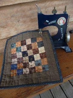 Miniature Quilts - Marian  (I display my mini quilts on my mini machine just like this!)