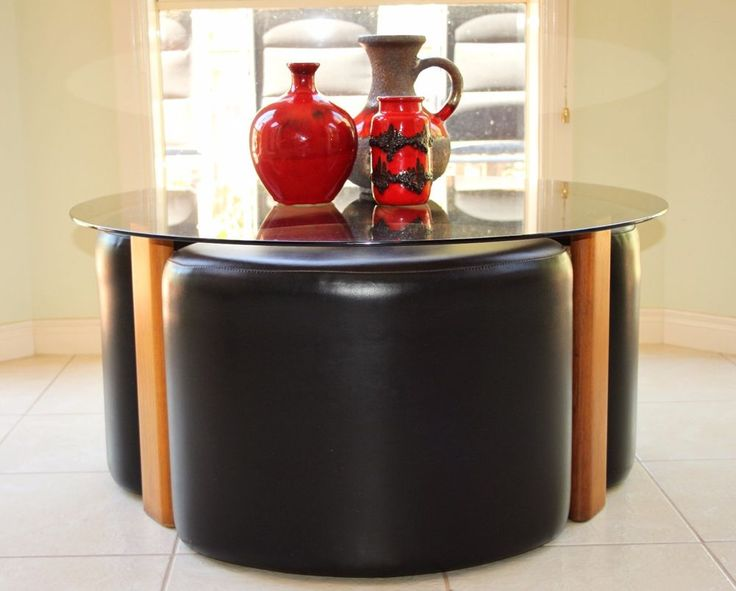 Mid Century Retro Vintage 1970s T H Brown Fondue Coffee Table Smokey Glass top