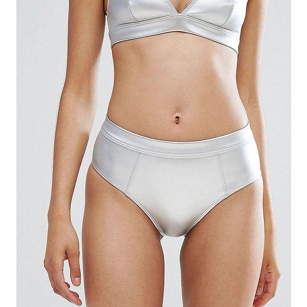 Monki Metallic Tanga Bikini Bottoms (15 AUD) ❤ liked on Polyvore featuring swimwear, bikinis, bikini bottoms, silver, high waisted two piece, high rise bikini, high-waisted bikinis, swimming bikini and bodycon two piece