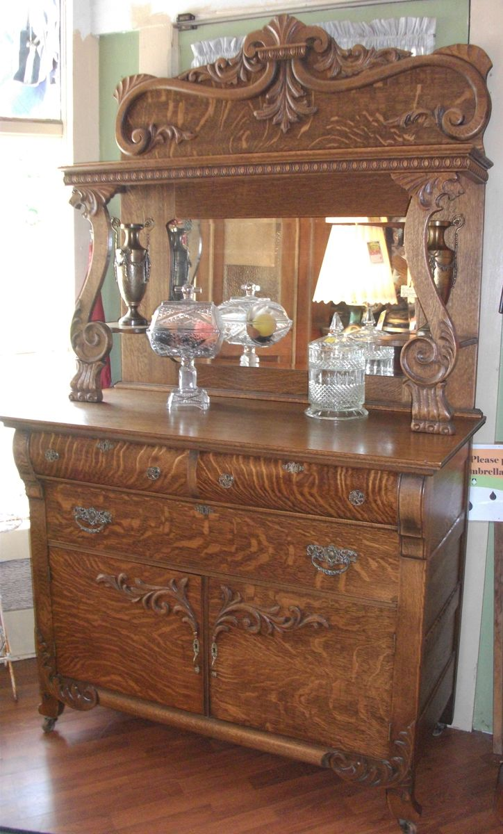 Antique glass flower carvings sideboard crown french furniture - Tiger Oak Buffet Antique
