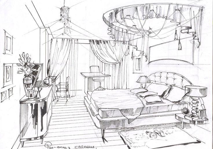 Эскиз спальни.#дизайн спальни#интерьер спальни#дизайн интерьера квартиры#дизайн-проект интерьера#дизайн интерьера в классическом стиле#эскизы интерьеров от руки#