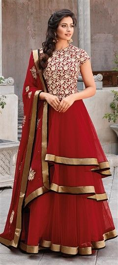 411259, Party Wear Salwar Kameez, Bollywood Salwar Kameez, Net, Patch, Thread, Red and Maroon Color Family
