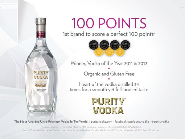 Purity Vodka - Organic & Gluten Free! Voted Vodka of the Year in 2011 & 2012! Visit our Facebook Page! https://www.facebook.com/BottleBargains