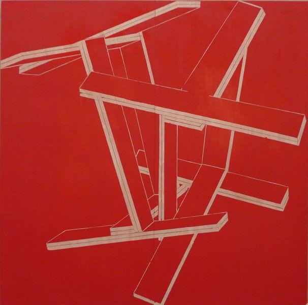 Manu Muniategiandikoetxea .- MM R 29 División Gemela Roja. Acrylic on board, 250 x 250 cms, 2009