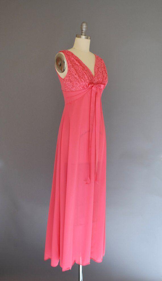 616dc1579 Vintage 1950s Gown Vanity Fair Lingerie Schiaparelli Shocking Pink Gown  Sheer Nightgown Sheer Gown N