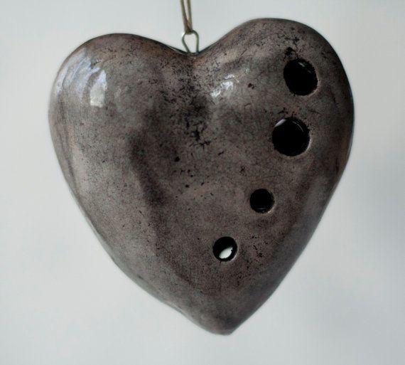Ceramic heart raku grey black crackle handmade OOAK by ClayLadyArt