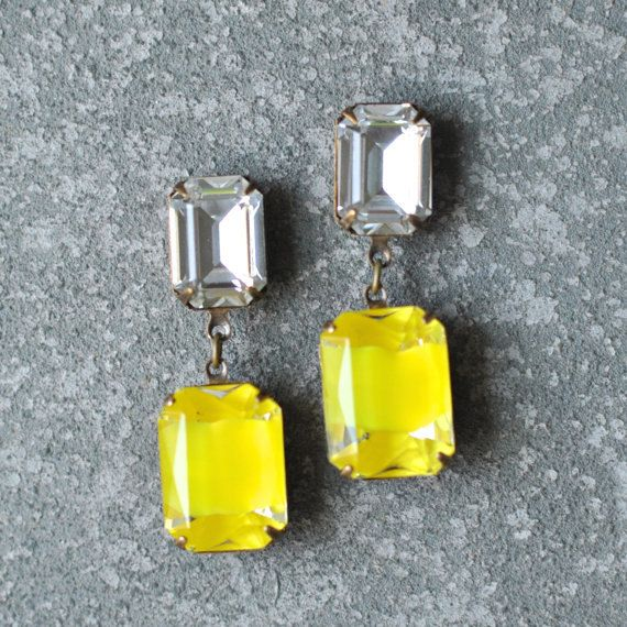 Amarillo limón diamante pendientes Swarovski blanco diamante