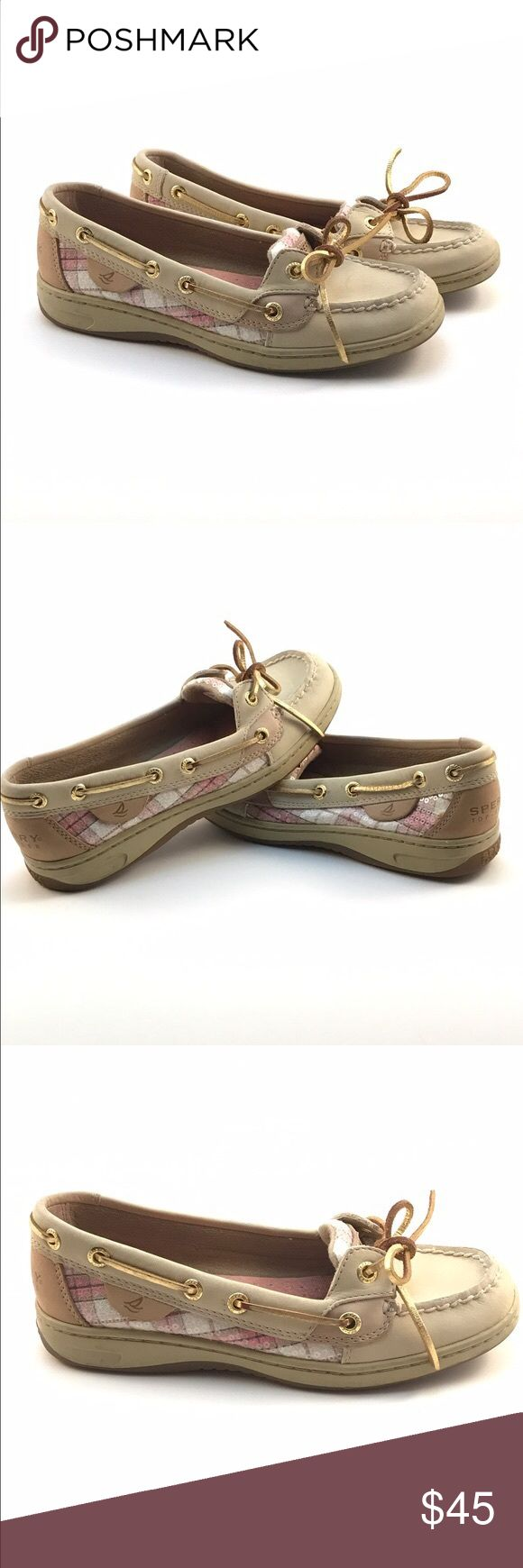 Women's Sperry Top Sider Pink Plaid Angelfish 5.5 Only worn twice! Brand new looking Sperry Angelfish with a pink plaid sequin accent.Get them before they're gone! Perfect for upcoming summer fun! Sperry Top-Sider Shoes Flats & Loafers