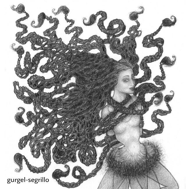 """You can't control everything. Your hair was put on your head to remind you of that."" ;-) Original pencil drawing by gurgel-segrillo"