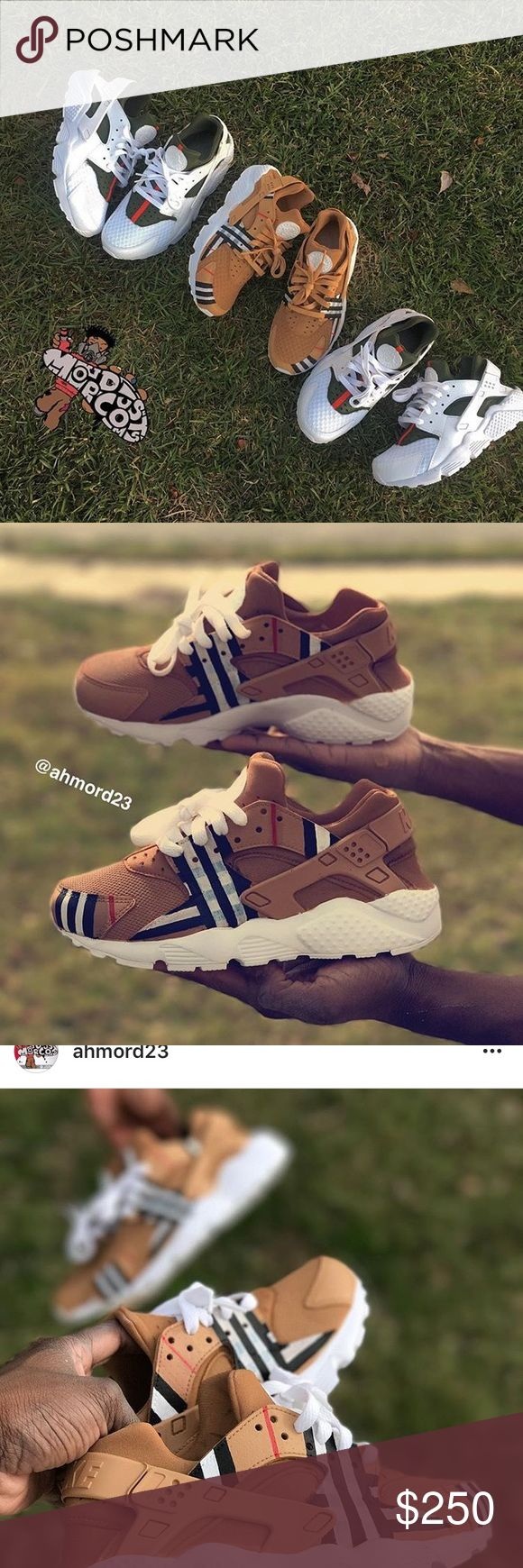 Custom huaraches Burberry custom nikes ‼️‼️‼️‼️‼️ check out website or Instagram page > @ahmord23 Burberry Shoes Sneakers