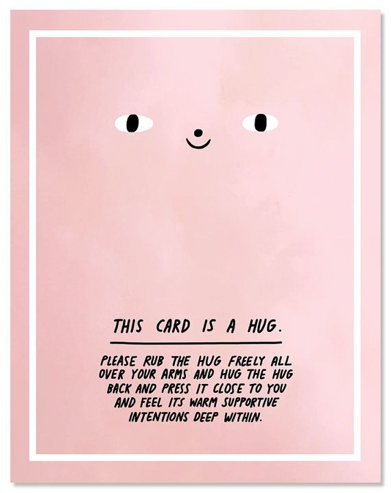 This Card Is A Hug greeting card  This is a blank notecard & matching envelope with my original illustration printed on the front, measuring 4.25 x
