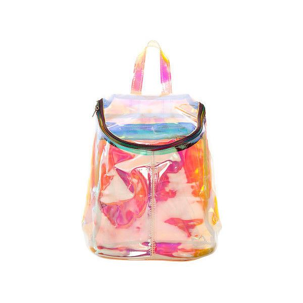 UNIF The Spacer Pack ($120) ❤ liked on Polyvore featuring bags, backpacks, accessories, pink clear backpacks, clear backpack, zipper bag, distressed backpack and clear zipper pouch